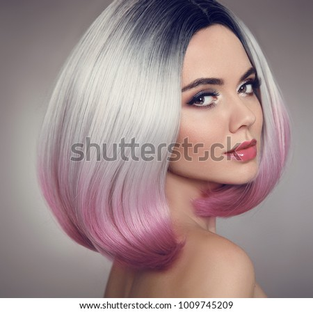 colored ombre bob hair extensions beauty stock photo