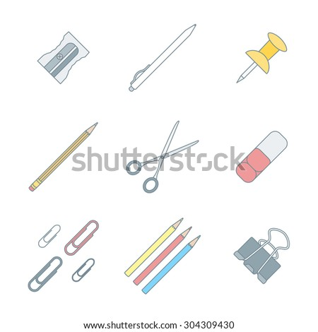 colored outline various stationery icons set white background