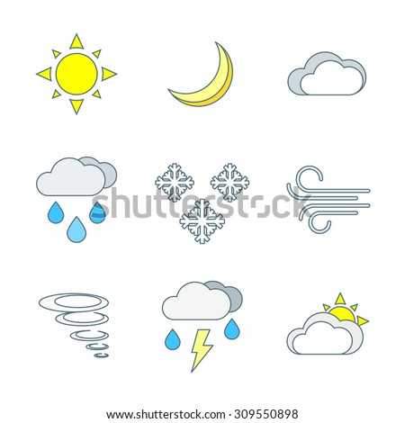 colored outline weather forecast icons set white background