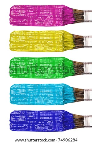 Colored paint brushes and stroke set, isolated on white - stock photo
