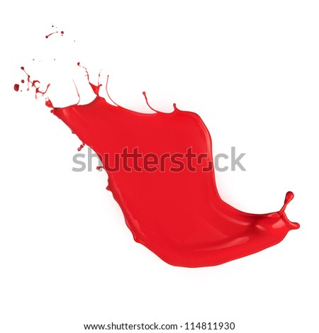 Colored paint splash isolated on white background