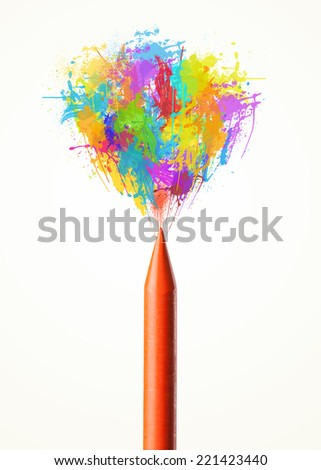 Colored paint splashes coming out of colored crayon - stock photo