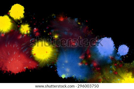 colored paint splatters and color clouds in black back - stock photo