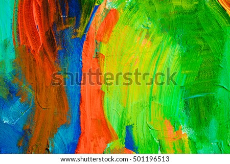 Colored paint strokes. Abstract art background. Detail of a work  . Contemporary . Colorful texture. thick  surface