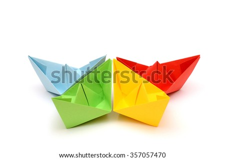 Colored paper boats, origami
