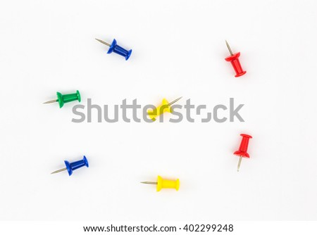colored paper clips buttons - stock photo