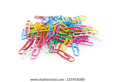 colored paper clips isolated on white background - stock photo