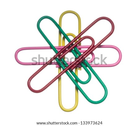 colored paper clips on a white background, isolated - stock photo