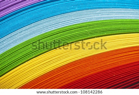 Colored paper, cross section, background stacked in wedges