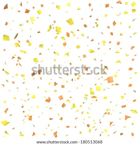 Colored paper in flight isolated on a white background - stock photo