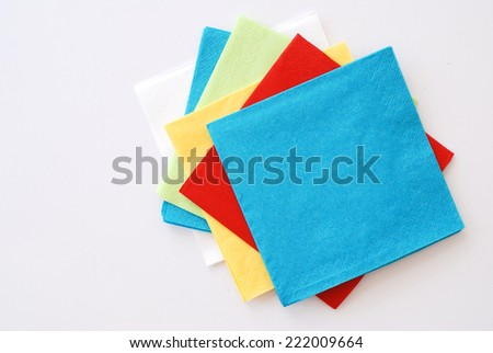 colored paper napkins - stock photo