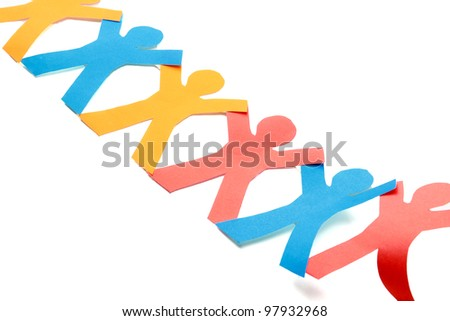 Colored paper people, isolated on white - stock photo