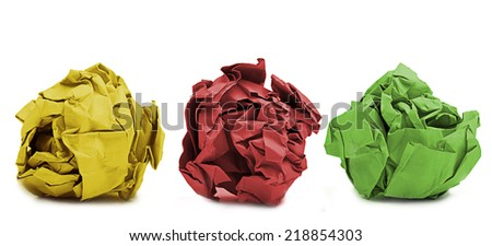colored paper wads debris