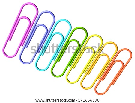 Colored paperclips laid out in a line isolated on white background diagonal view