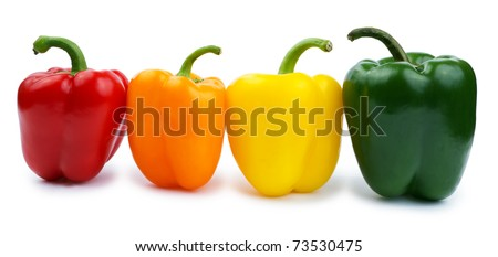 Colored paprika (pepper) isolated on a white background - stock photo