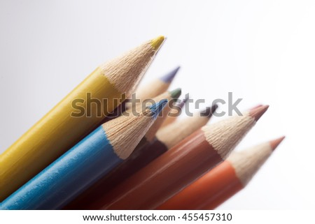 colored pastels on white  - stock photo