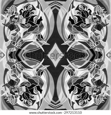 Colored pattern. Ornament of flowers in the Art Nouveau style, modern. Gouache and acrylic painting resembles stained glass. Bright colors and black stroke, coloring - stock photo