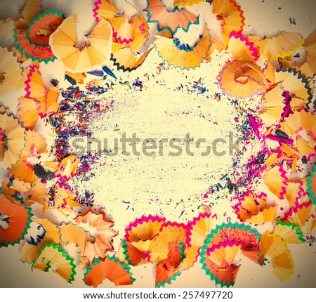 colored pencil shavings with copy-space. close up. instagram image retro style - stock photo