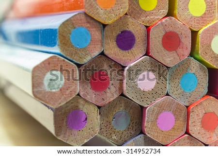 Colored pencils background - stock photo