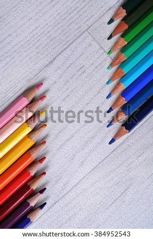 colored pencils composition