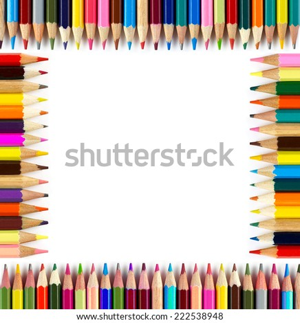 Colored pencils frame - stock photo