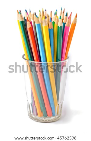 Colored pencils in cup - stock photo