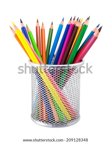 Colored pencils in pot isolated on white background - stock photo