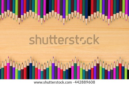 Colored pencils in wave pattern on wooden signboard with copy space for background, educational signboard background with copy space concept, 3D rendering
