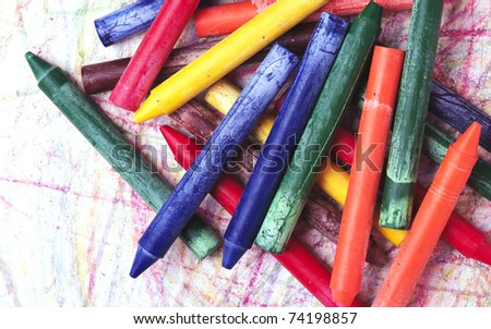 colored pencils isolated on a white background - stock photo
