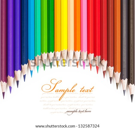 Colored pencils. isolated on white background - stock photo
