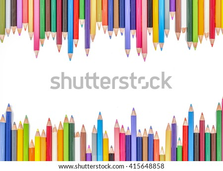 Colored pencils isolated on white background, colored pencils design, the colored pencils on white background, with colored pencils on top and bottom of the page for use as colored pencils background - stock photo