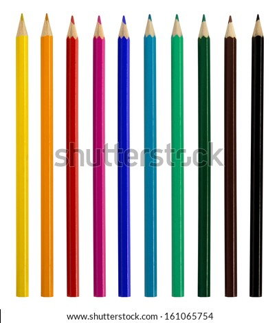 Colored pencils isolated over white background - stock photo