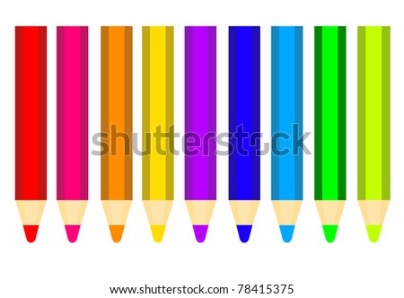 colored pencils isolated over white background. illustration