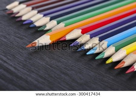 Colored pencils on the table