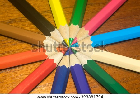 Colored pencils or crayons on circle.