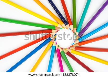 colored pencils, row, art, crayon, color, pen, yellow, spiral, drawing, sharp, bunch, pencil, bright, writing, idea, creative, closeup, pastel, draw, school, vibrant, image, creativity, instrument - stock photo
