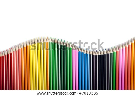 Colored pencils wave isolated - stock photo