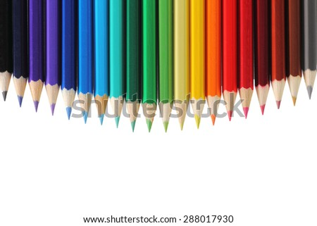Colored pencils with copy space