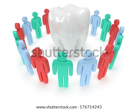 Colored people in circle around tooth chain within. 3D render. Teamwork, business, praise, partnership, dental, tooth, medicine.