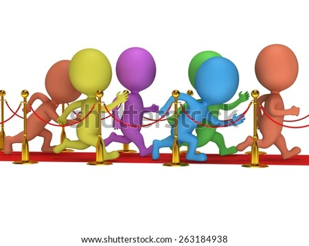 Colored people run on red event carpet with golden rope barriers. 3D render isolated on white. Chase, pursuit of happyness, glory and success concept. - stock photo