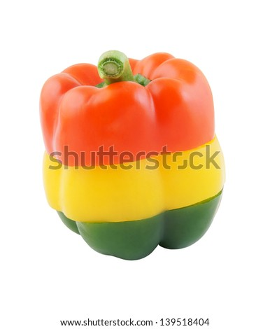 Colored pepper isolated on white background