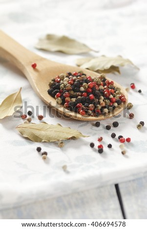 Colored pepper on a wooden spoon - stock photo