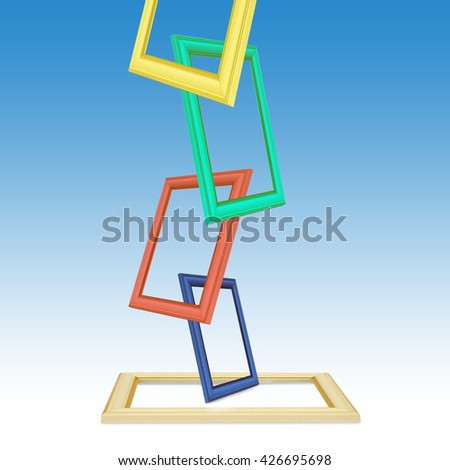 Colored photo frames on the white background