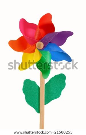Colored pinwheel isolated on white - stock photo