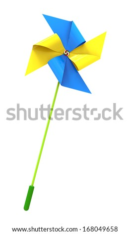 Colored Pinwheel, isolated on white, 3d render