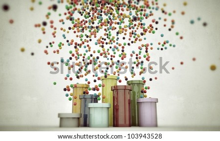 colored pipes spitting balls isolated on white background