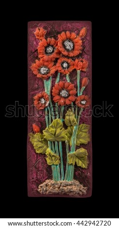 colored plaster painting, floral patterns, carved decoration - stock photo