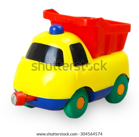 Colored plastic baby car isolated on white background - stock photo