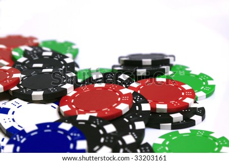 Colored poker chips isolated