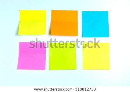 Colored post it on white board